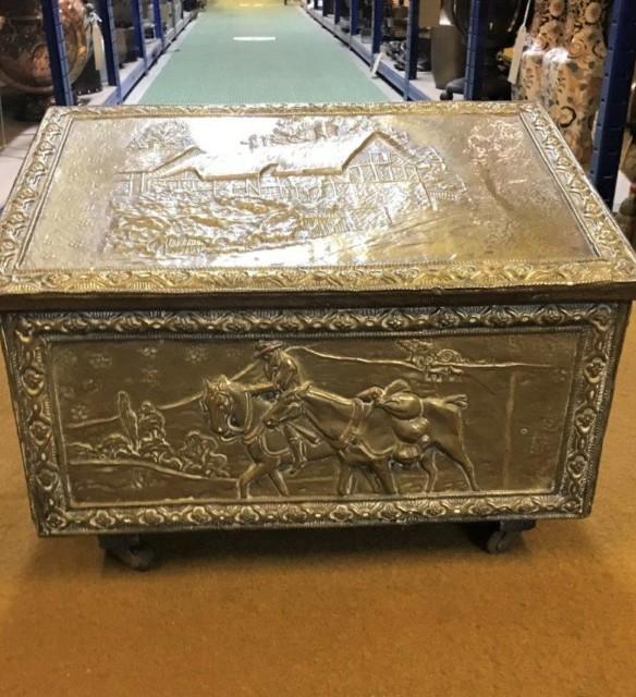 Antique Brass Repousse Coal Box