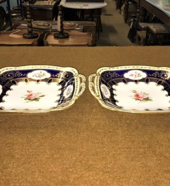 Pair of Coalport Blue Gilded Serving Trays