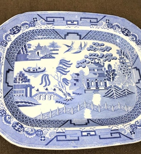 Blue White Pearlware Willow Pattern Serving Platter