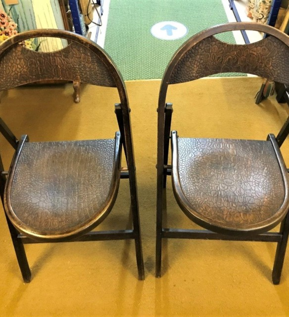 Pair Bentwood Folding Chairs