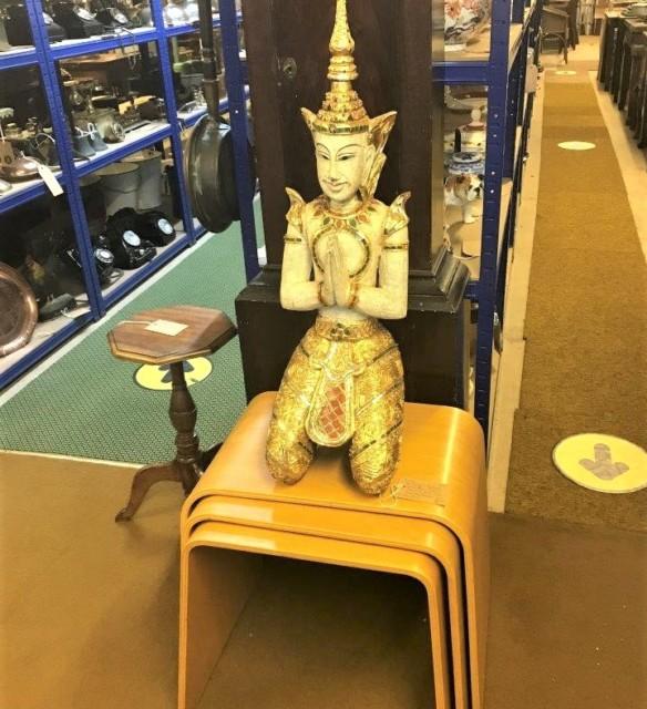 Thai Buddhist Teppanom Guardian Angel Figure Kneeling and Praying
