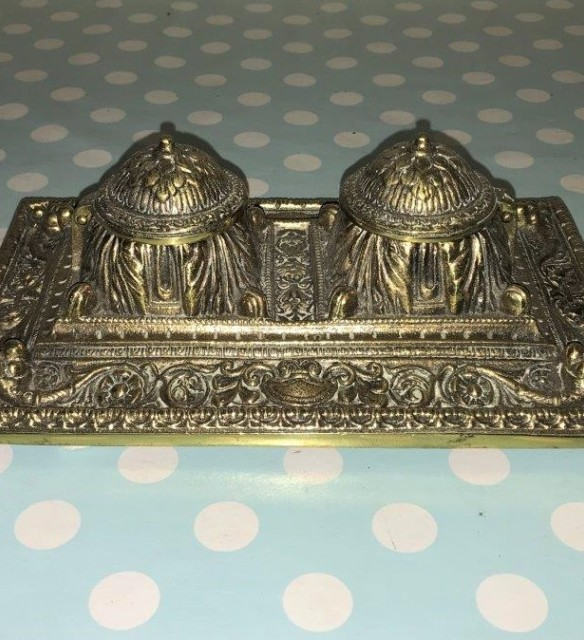 Ornate Brass Inkwell Stand