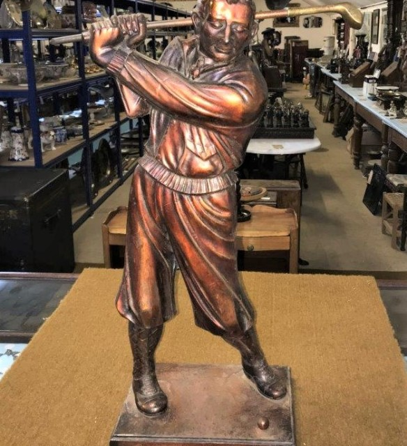 Bronze Golfer Fireside Companion Set
