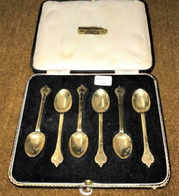 Cased Set of 6 Silver Gilt Spoons