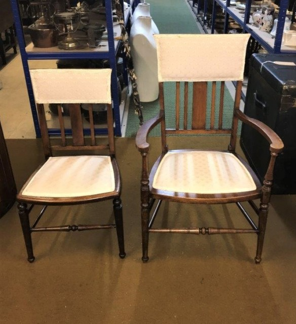 Pair Early 20th Century Mahogany Hall / Bedroom Chairs