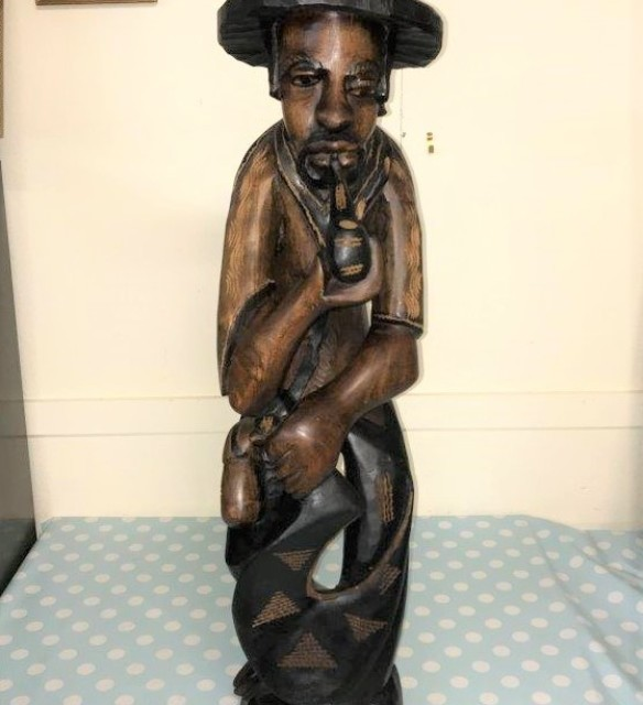 Wooden Carved Caribbean Figure