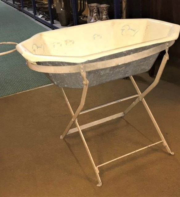 Vintage Aluminium Baby's Bath and Iron Folding Stand