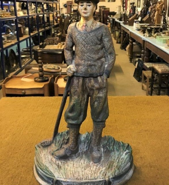 Cast Doorstop Figure of Golfer