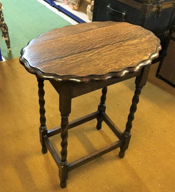Dark Oak Oval Scalloped Edge Side Table