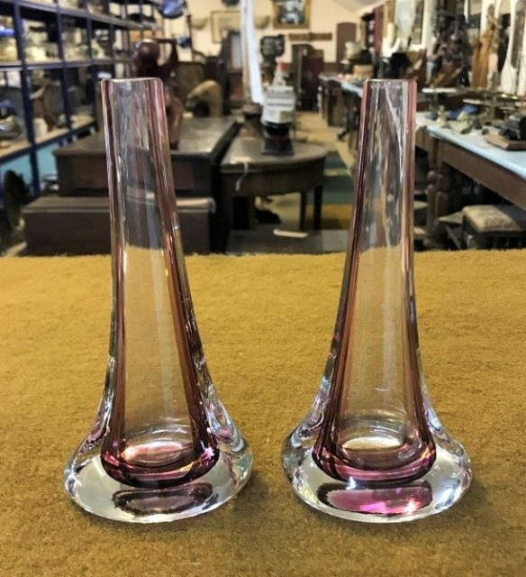 Pair Whitefriars Ruby Glass Bud Vases