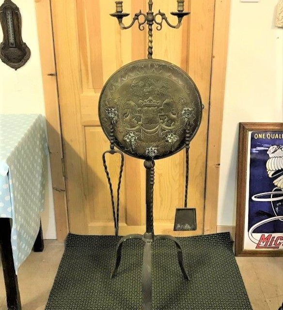 Brass Fireside Stand with Armorial Shield
