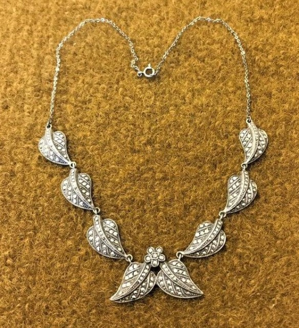 Silver & Marcasite Leaf Necklace