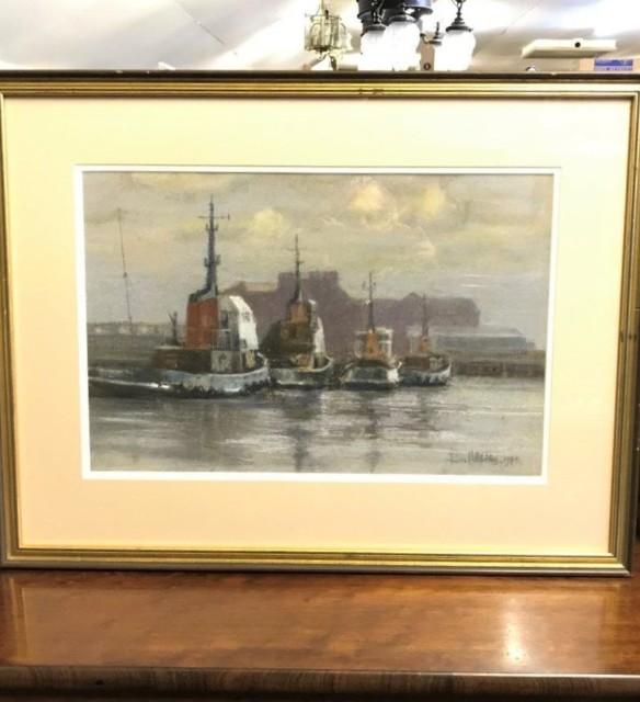 "Pastel Painting ""Tugs at North Shields"""
