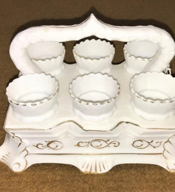 Victorian Egg Cup Stand C/W 6 Egg Cups