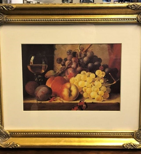 Still Life Print in Gilt Frame Fruit and Butterfly