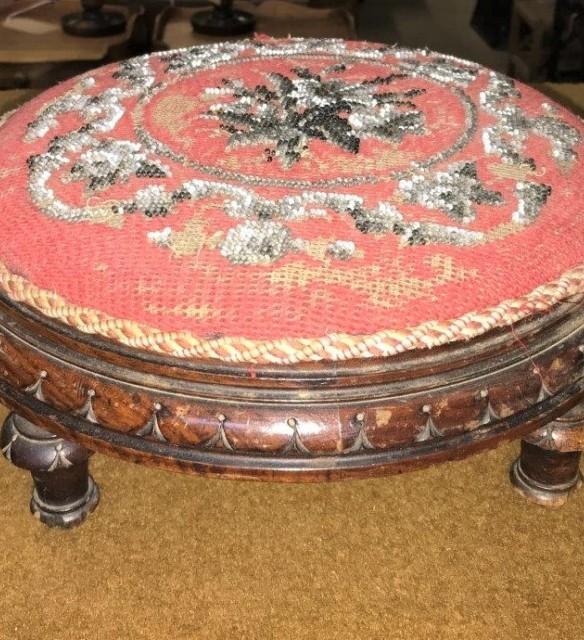 Victorian Mahogany Beadwork Footstool