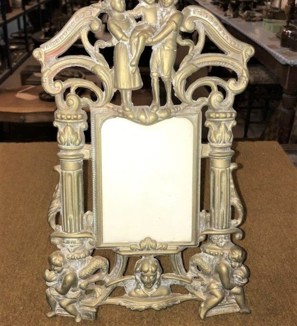 Art Nouveau Brass Repousse Easel Photo Frame