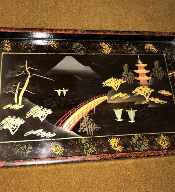 Large Japanese Lacquered Papier Mache Tray