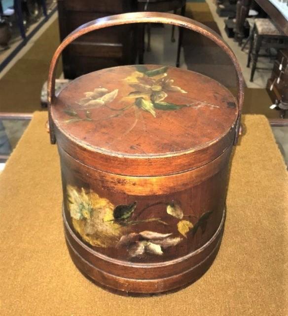 Vintage Barrel Shaped Wooden Sewing Box