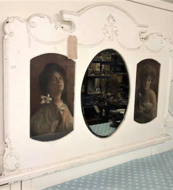 French Triptych Overmantle Mirror