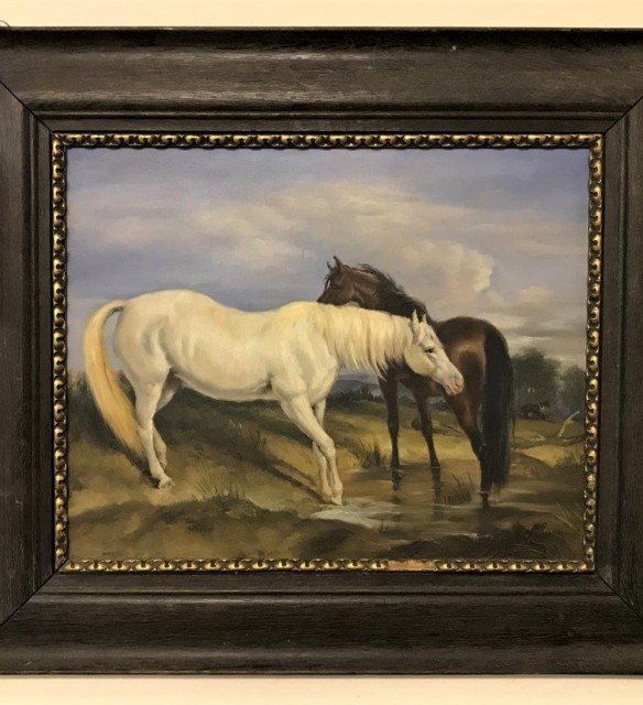 Oil Painting 'Horses Grazing""