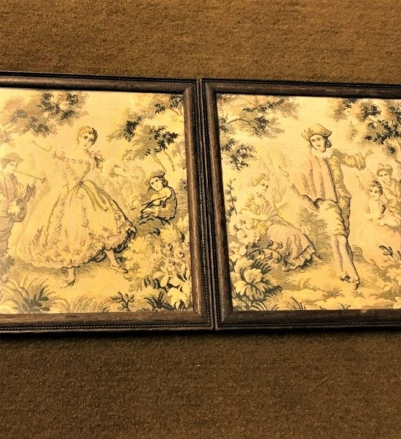 Pair 19th Century Embroidered Panels Boy and Girl