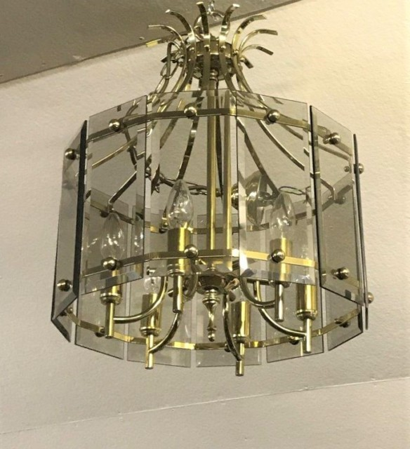 Mid 20th Century Brass and Smoked Glass Panel Chandelier