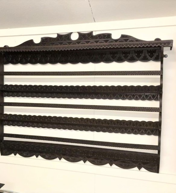 Scottish Chip Carved Hanging Plate Rack