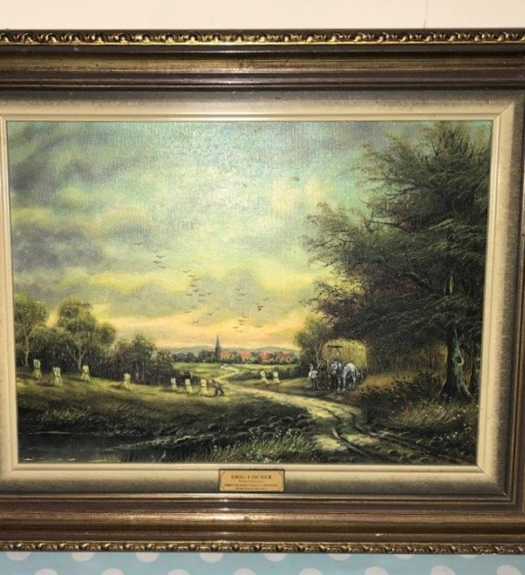 Set of 4 Oil Paintings of European Country Scenes