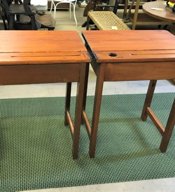 Pair 1950s School Desks