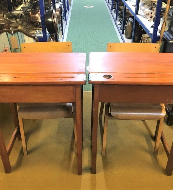 Pair 1950s School Desks & Chairs