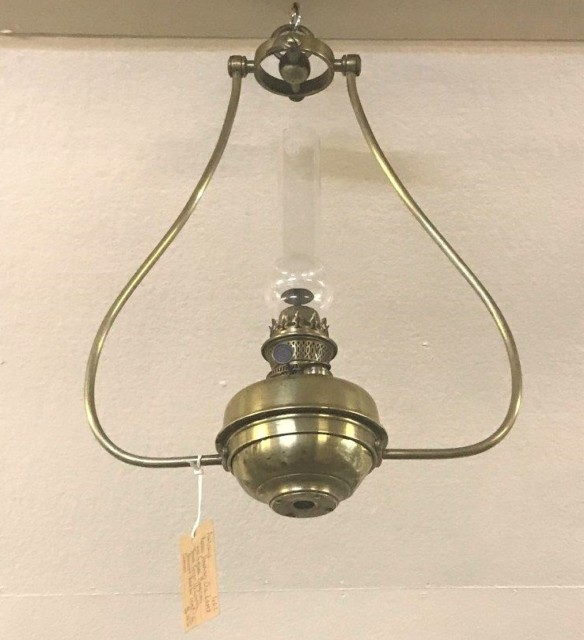 Antique Brass Hanging Oil Lamp with Gimbal Mounting