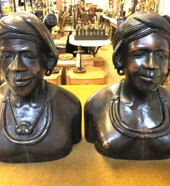 Pair Hand Carved Wood Igorot Tribe Figures