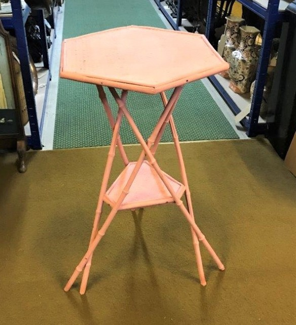 Pink Bamboo Tripod Occasional Table