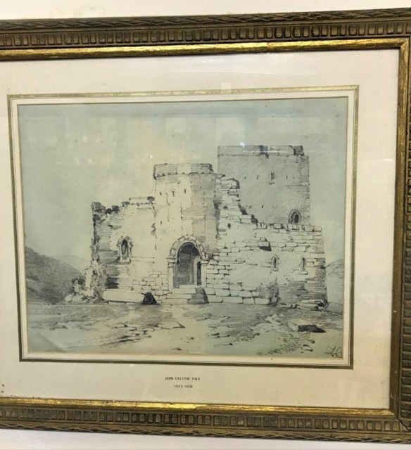 Drawing of Keep/Fort Signed John Callow RWS