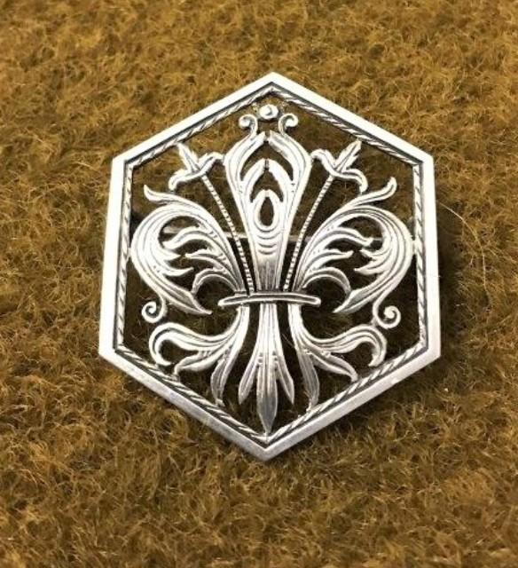 Fleur De Lys Hexagonal Brooch