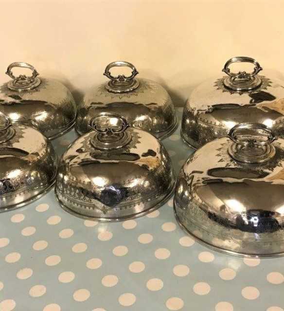 Set of 6 EPNS Meat Domes