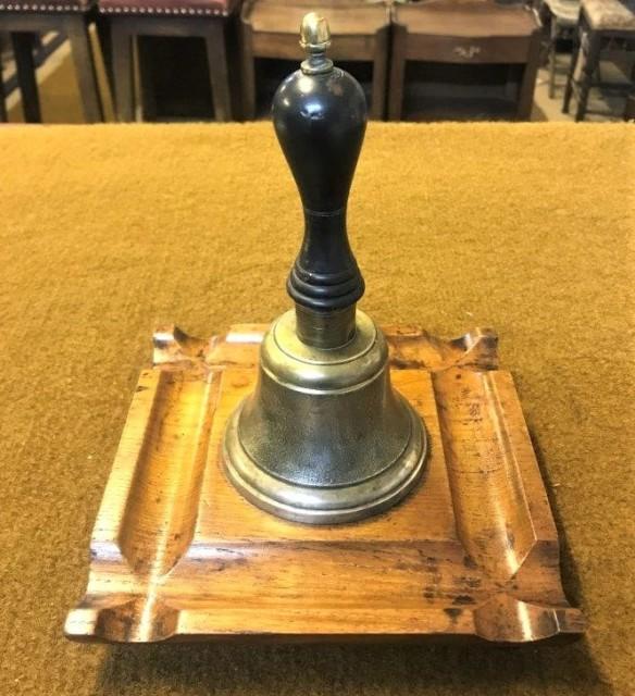 Vintage Hand Desk Bell on Oak Plinth